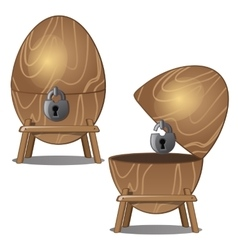 Closed and open wooden eggs with lock on stand vector image
