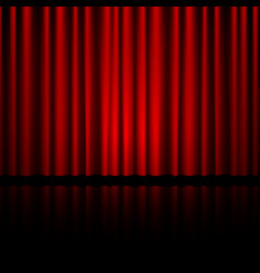 closed red theater curtain with reflection in vector image