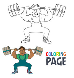 coloring page with weightlifting player cartoon vector image