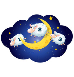 Counting sheeps at night on white background vector