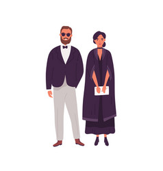 couple in trendy evening clothes standing together vector image