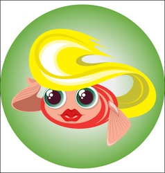 cute blonde little fish in a circle vector image