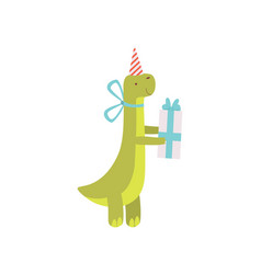 Cute dinosaur in party hat with gift box green vector