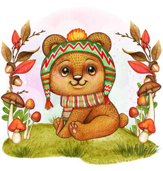Cute watercolor bear baby vector
