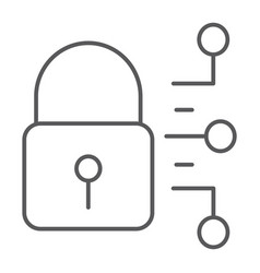 cyber security thin line icon protection security vector image