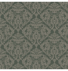 Damask ornament pattern in green color vector image