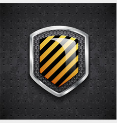 Danger metal shield with black grille vector