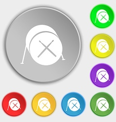 Drum icon sign Symbol on eight flat buttons vector