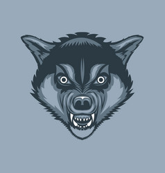 evil and scary wolf tattoo style vector image