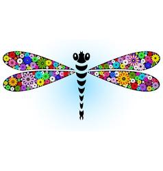 Fantasy floral dragonfly vector