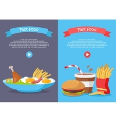 Fast Food Conceptual Banner for Web Site Design vector