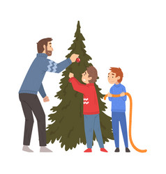 father and his two sons decorating christmas tree vector image