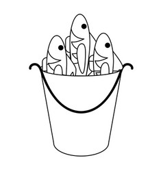 fishes in bucket in black and white vector image
