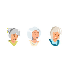 Flat set elderly women rejoice feel happy vector