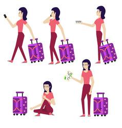 flat woman tourist travel bag suitcase set vector image