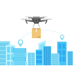 Flying drone with box and cityscape big city vector
