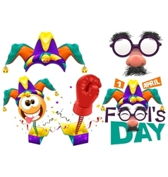 Fools cap smile on spring Funny glasses nose vector
