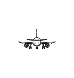 Front view of airplane hand drawn outline doodle vector