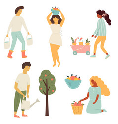 funky flat people working in garden vector image