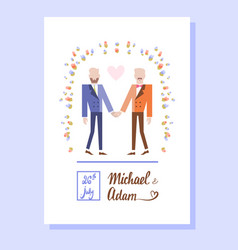 Gay couple getting married vector