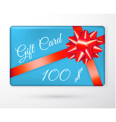 gift vouchers with bow red ribbons and blue vector image