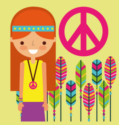 Girl hippie peace and love feathers vector