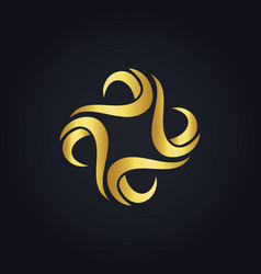 Gold circle wave logo vector