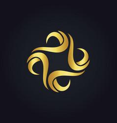 Gold circle wave logo vector