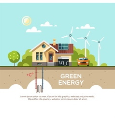 Green energy Eco friendly house vector