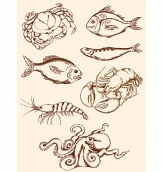 hand drawn seafood icons vector image