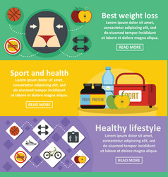 Health lifestyle banner horizontal set flat style vector