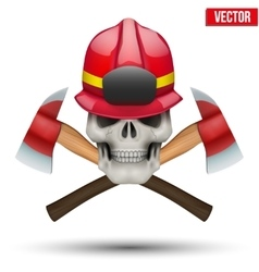 Human skull with firefighter helmet vector image