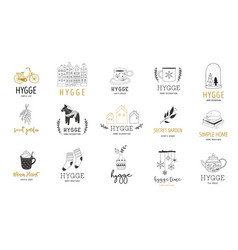 Hygge - simple life in danish collection of hand vector
