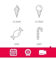 Ice cream candy icons vector