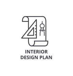 Interior design plan line icon sign vector