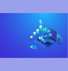 isometric investment and virtual finance vector image