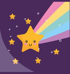 kawaii star rainbow night weather vector image