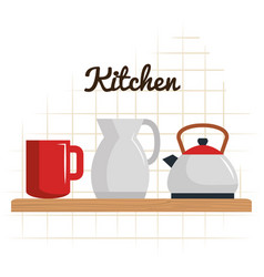 kitchen utensils in shelf equipment icons vector image