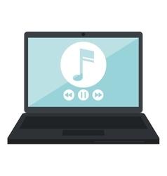 Laptop music player app modern vector