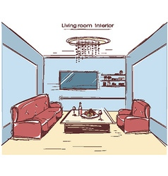 living room interior color hand drawing vector image