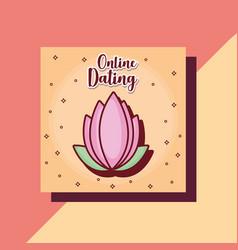 lotus flower online dating card cartoon vector image