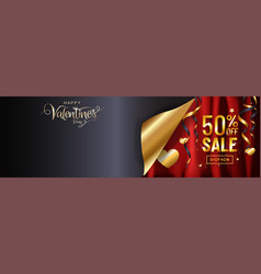 luxury valentines day sale background gold gift vector image