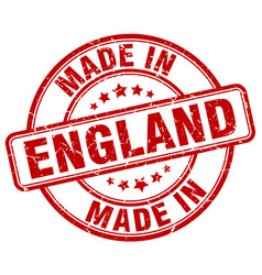 made in england red grunge round stamp vector image