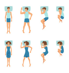 Male and female in sleeping poses top view vector