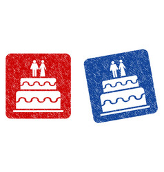 Marriage cake grunge textured icon vector