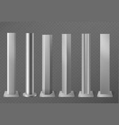 metal poles metallic pillars for urban advertising vector image