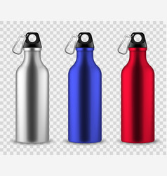 Metal water bottle drinking reusable bottles vector