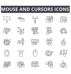 mouse and cursors line icons signs set vector image