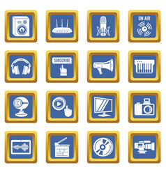 multimedia internet icons set blue square vector image