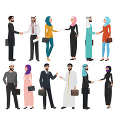 Muslim arabic business people isolated collection vector